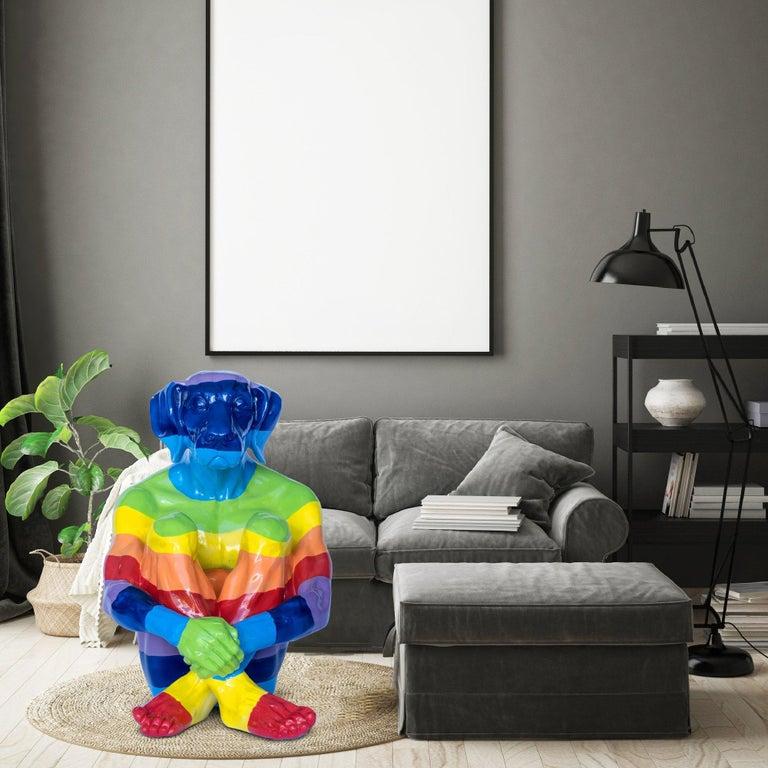 Pop Art - Sculpture - Art - Fibreglass - Gillie and Marc - Dogman - Rainbow For Sale 1