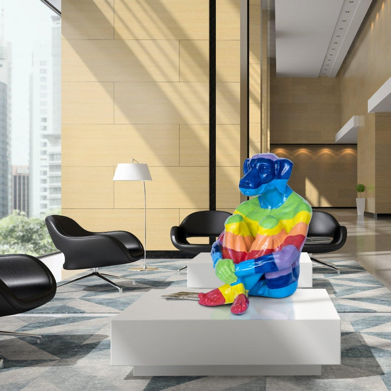 Pop Art - Sculpture - Art - Fibreglass - Gillie and Marc - Dogman - Rainbow For Sale 2
