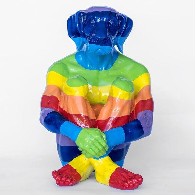 Pop Art - Sculpture - Art - Fibreglass - Gillie and Marc - Dogman - Rainbow For Sale 6