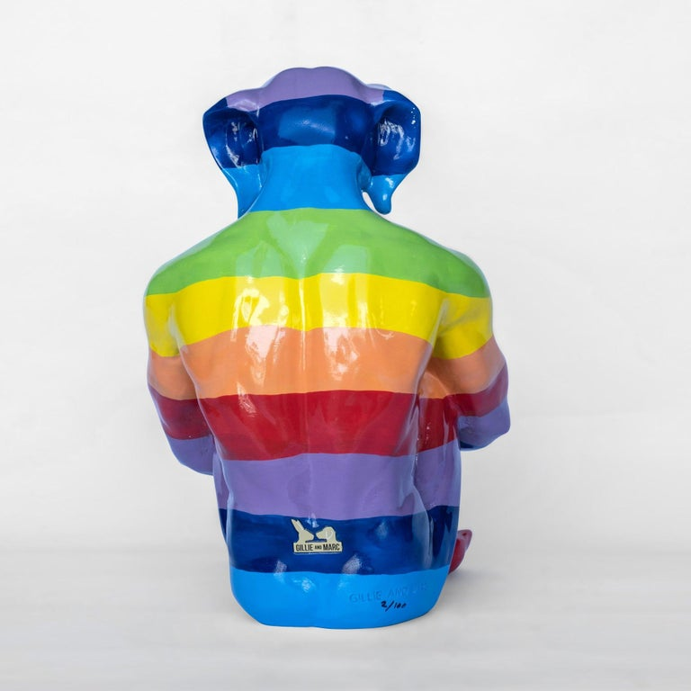 Pop Art - Sculpture - Art - Fibreglass - Gillie and Marc - Dogman - Rainbow For Sale 7