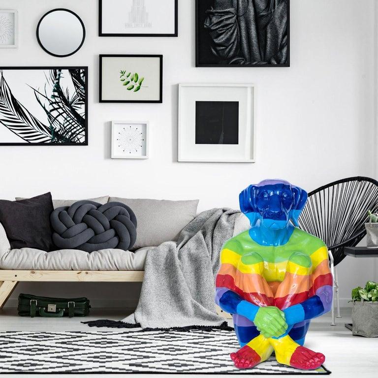 Pop Art - Sculpture - Art - Fibreglass - Gillie and Marc - Dogman - Rainbow For Sale 4