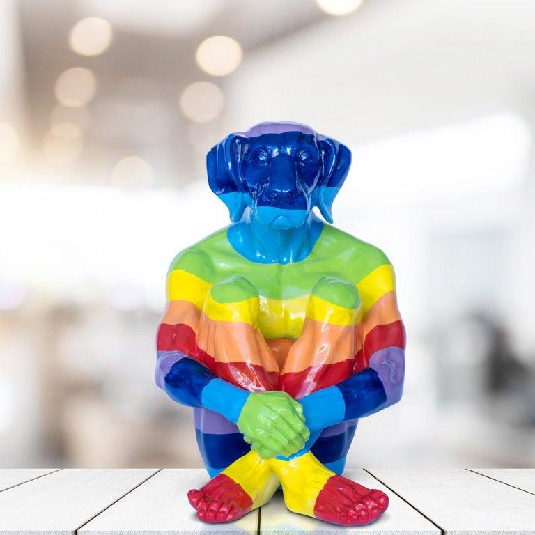 Pop Art - Sculpture - Art - Fibreglass - Gillie and Marc - Dogman - Rainbow For Sale 3