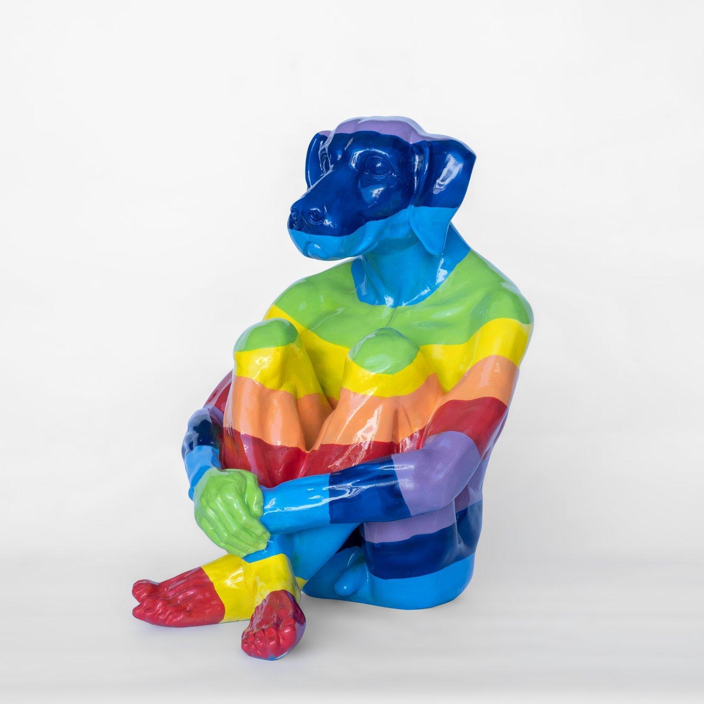 Pop Art - Sculpture - Art - Fibreglass - Gillie and Marc - Dogman - Rainbow