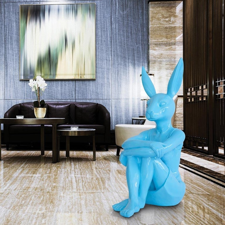 Pop Art - Sculpture Art - Fibreglass - Gillie and Marc - Rabbitwoman Blue Teal  1