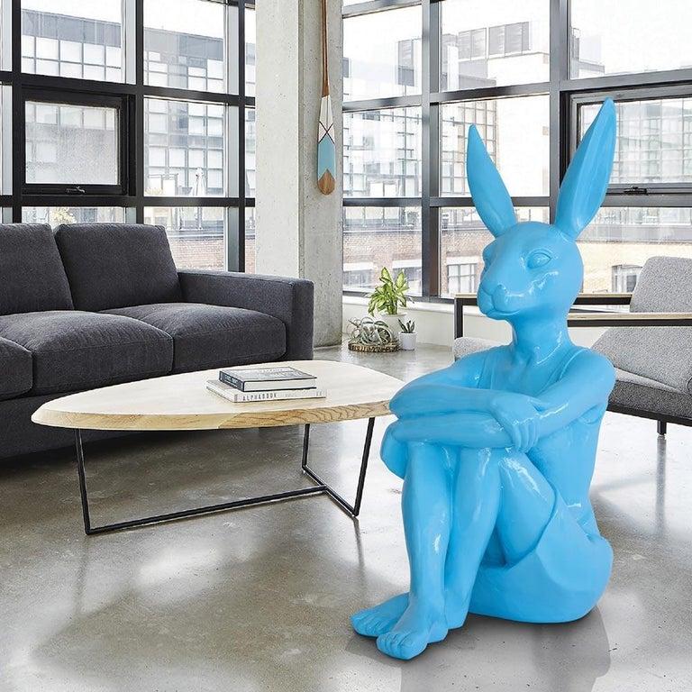Pop Art - Sculpture Art - Fibreglass - Gillie and Marc - Rabbitwoman Blue Teal  2