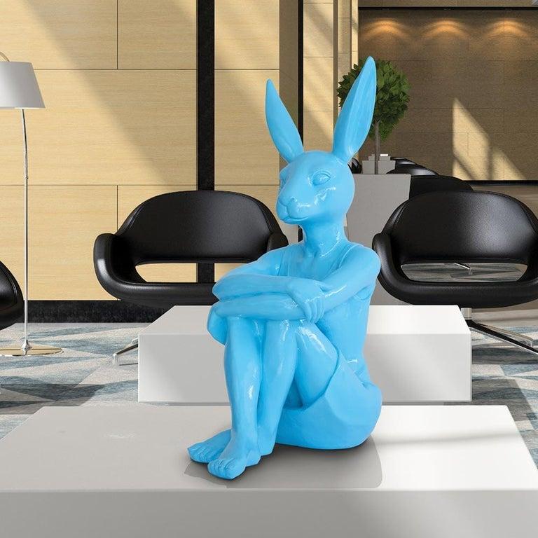 Pop Art - Sculpture Art - Fibreglass - Gillie and Marc - Rabbitwoman Blue Teal  3