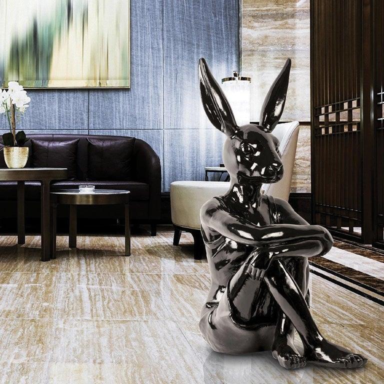 Pop Art - Sculpture Art - Fibreglass - Gillie and Marc - Rabbitwoman Dress Black 1