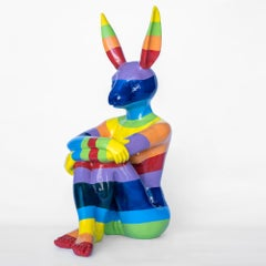 Pop Art - Sculpture - Art - Fibreglass - Gillie and Marc - Rabbitwoman - Rainbow