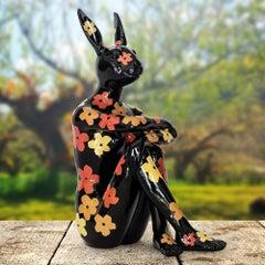 Pop Art - Sculpture - Art - Resin - Gillie and Marc - Black - Flowers - Bunny