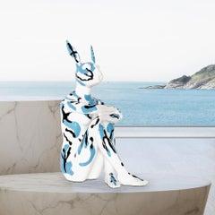 Pop Art - Sculpture - Art - Resin - Gillie and Marc - Blue, Black, White Bunny