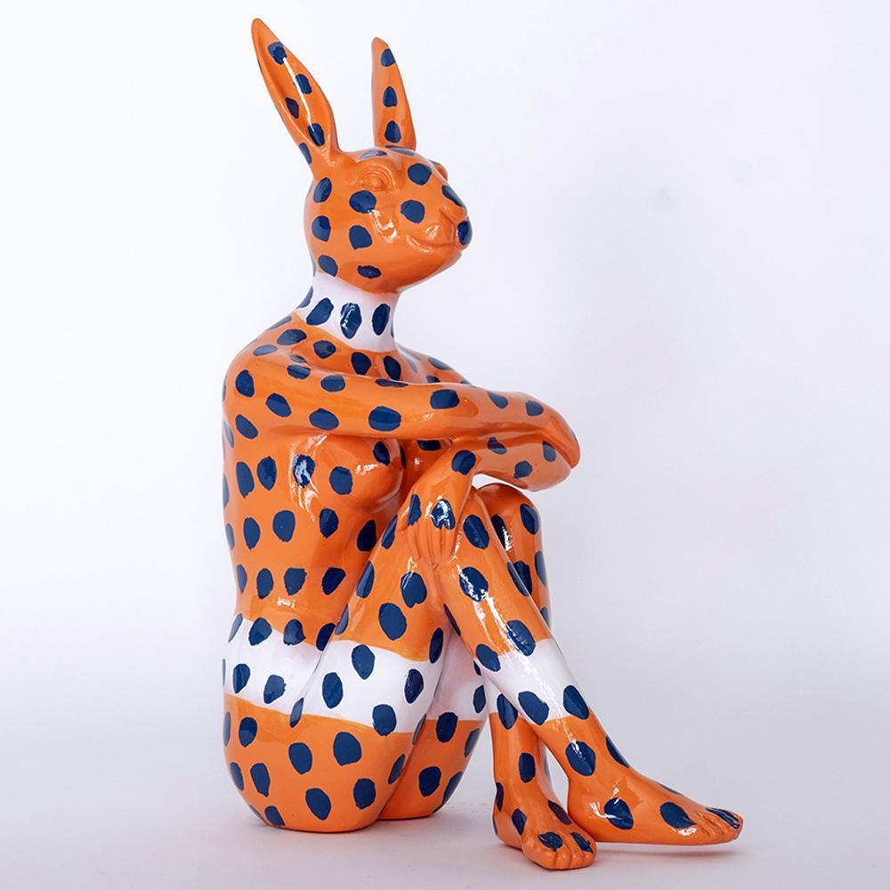 Pop Art - Sculpture - Art - Resin - Gillie and Marc - Blue Dots - Orange Bunny