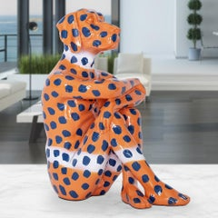 Pop Art - Sculpture - Art - Resin - Gillie and Marc - Blue Dots - Orange Pup