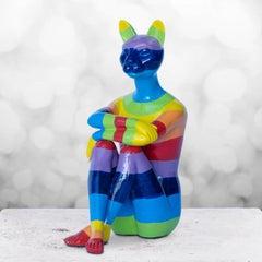 Pop Art - Sculpture - Art - Resin - Gillie and Marc - Cat - Kitten - Rainbow