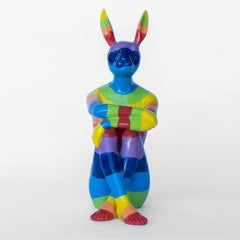 Pop Art - Sculpture - Art - Resin - Gillie and Marc - Rabbit - Bunny - Rainbow