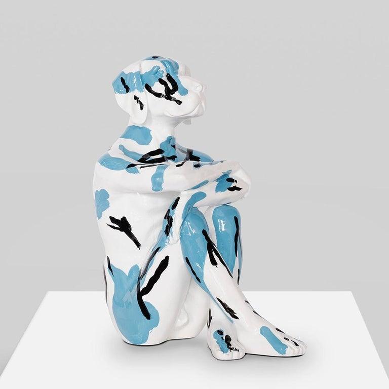 Pop Art - Sculpture - Art - Resin - Gillie and Marc - White - Black - Blue - Pup - Brown Figurative Sculpture by Gillie and Marc Schattner
