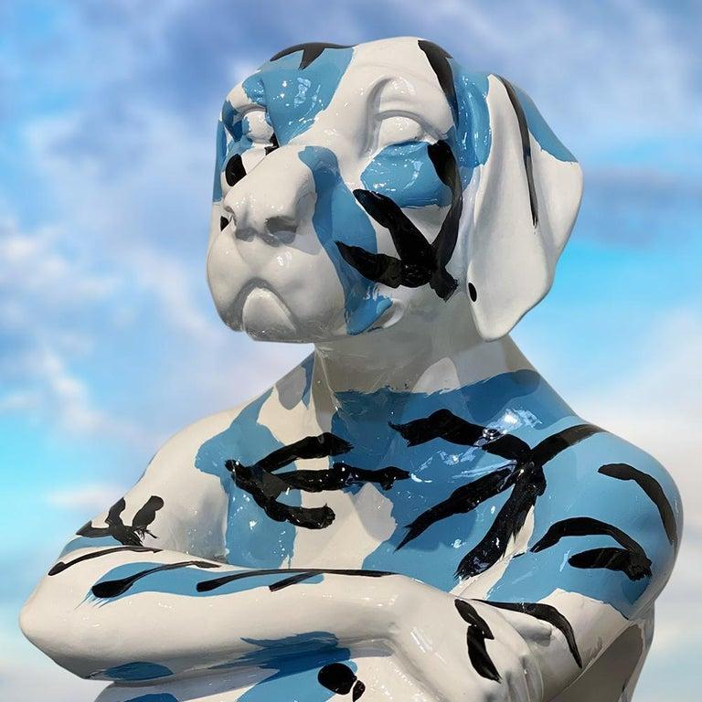 Pop Art - Sculpture - Art - Resin - Gillie and Marc - White - Black - Blue - Pup For Sale 1