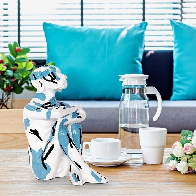 Pop Art - Sculpture - Art - Resin - Gillie and Marc - White - Black - Blue - Pup For Sale 2