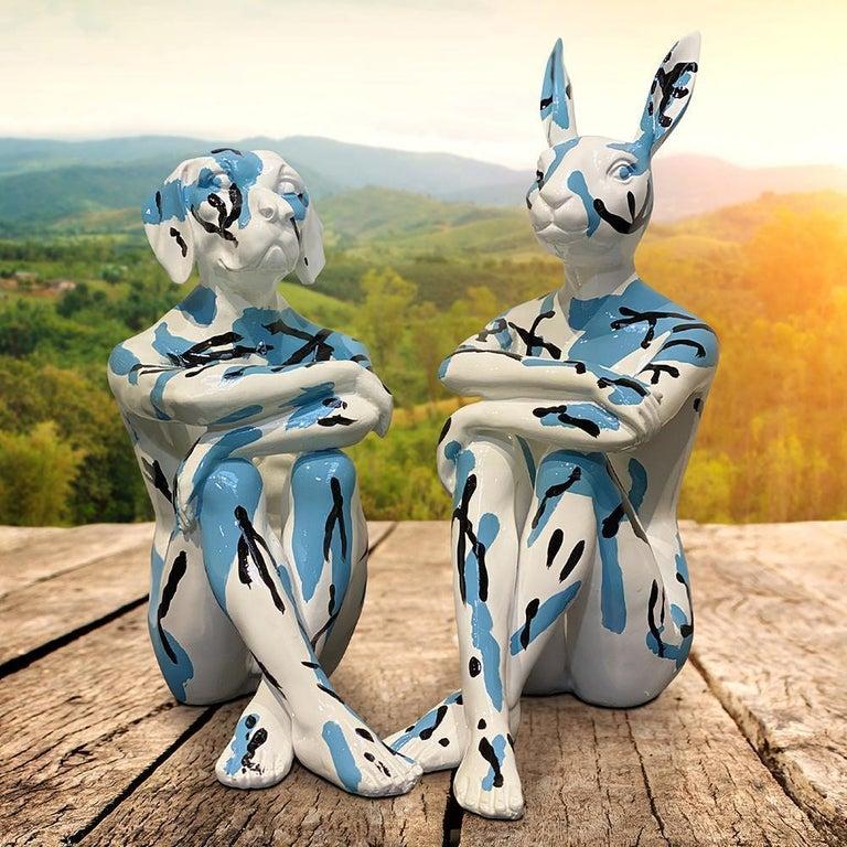 Pop Art - Sculpture - Art - Resin - Gillie and Marc - White - Black - Blue - Pup For Sale 3