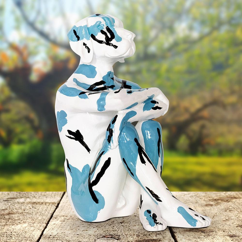 Pop Art - Sculpture - Art - Resin - Gillie and Marc - White - Black - Blue - Pup