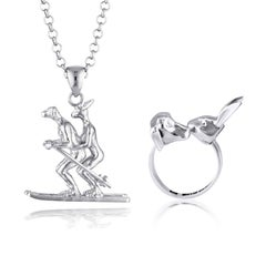 Pop Art - Sculpture - Jewellery - Gillie and Marc - Animal Ski Snow - Silver Set