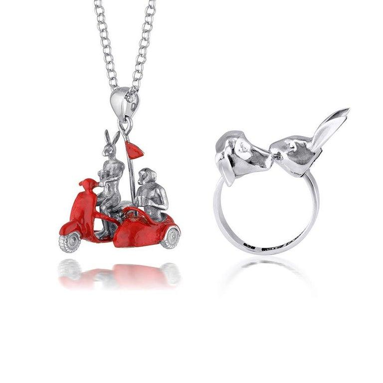Gillie and Marc Schattner Figurative Sculpture - Pop Art - Sculpture - Jewellery - Gillie and Marc - Love - Side Car - Silver Set