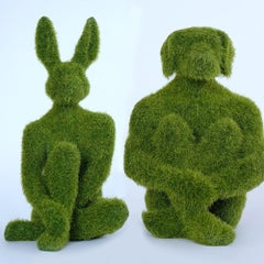 Resin Sculpture Art - Evergreen Mini Dogman and Rabbitgirl - Grass Finish