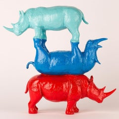 Resin Sculpture - Gillie and Marc - Rhino - Wildlife - Animals - Blue Teal Red