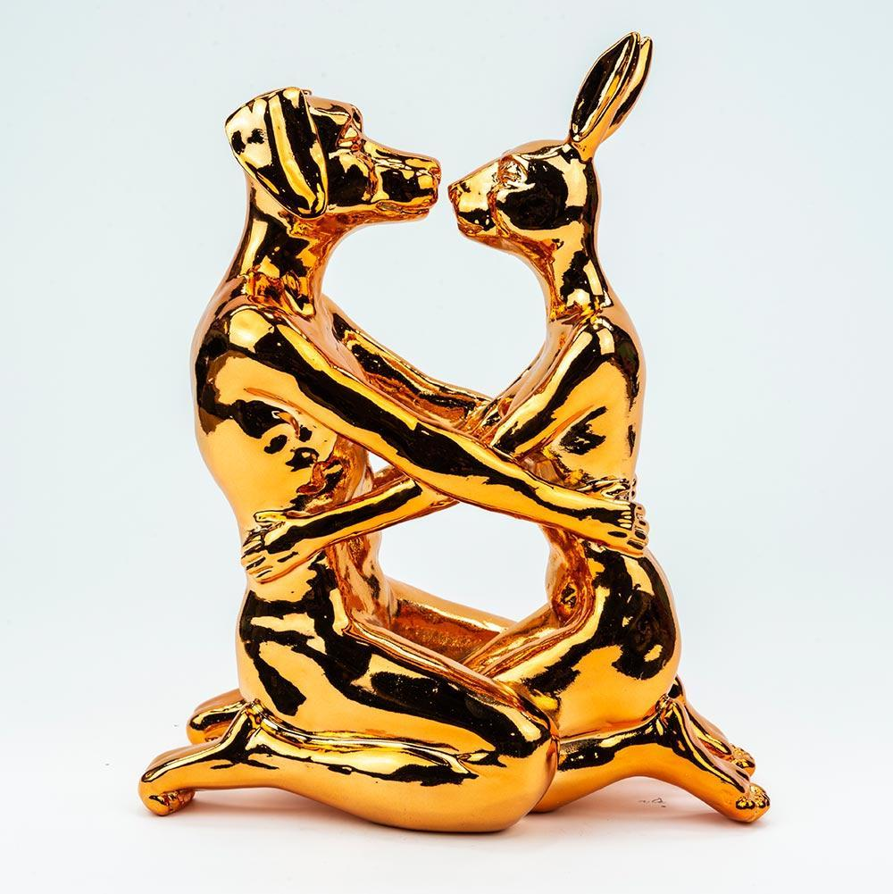 Resin Sculpture - Limited Edition - Gillie and Marc - Kiss - Dog Rabbit - Bronze