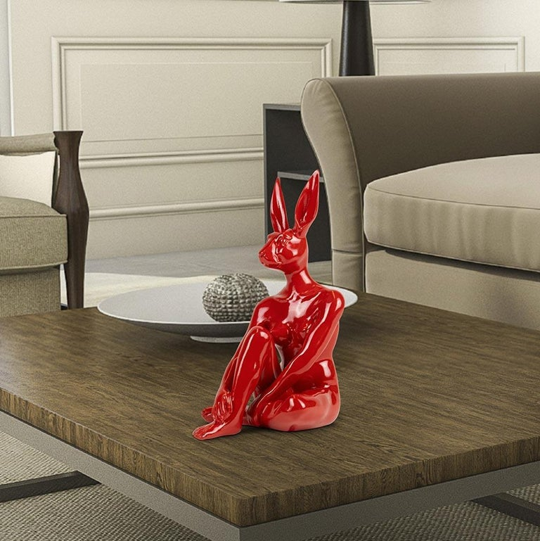 Resin Sculpture - Pop Art - Gillie and Marc - Ltd Edition - Mini - Rabbit - Red - Gray Figurative Sculpture by Gillie and Marc Schattner