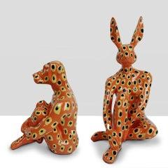 Resin Sculpture - Pop Art - Gillie and Marc - Mini Rabbit Dog - Pair - Yellow