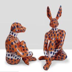 Resin Sculpture - Pop Art - Gillie and Marc - Mini Rabbit Dog - Set - Blue Dots
