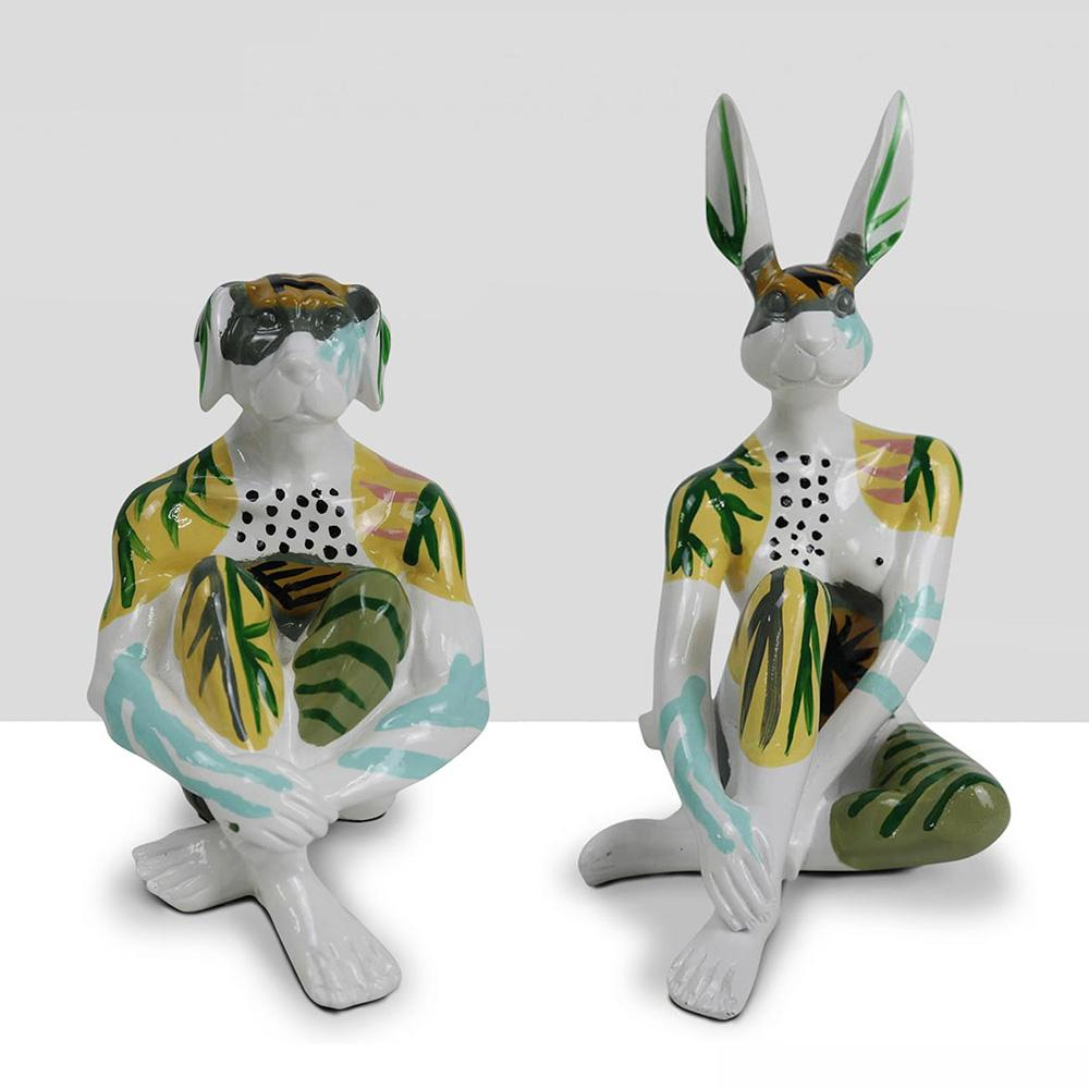 Resin Sculpture - Pop Art - Gillie and Marc - Mini Rabbit Dog - Set - White Fern