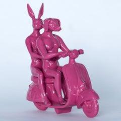 Resin Sculpture - Pop Art - Gillie and Marc - Nude - Dogman - Rabbitgirl - Pink