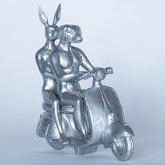 Resin Sculpture Pop Art - Gillie and Marc - Nude - Dogman - Rabbitgirl - Silver