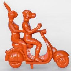 Resin Sculpture - Pop Art - Gillie and Marc - Travel - Vespa - Orange