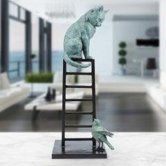 Sculpture - Art - Bronze - Gillie and Marc - Cat - Bird - Ladder - Wildlife