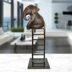 Sculpture - Art - Bronze - Gillie and Marc - Elephant - Ladder - Wildlife - Love