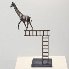 Sculpture - Art - Bronze - Gillie and Marc - Giraffe Ladder - Wildlife - Animal