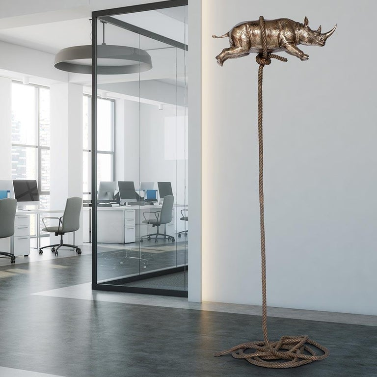 Sculpture Art - Bronze - Gillie and Marc - Gold Rhino - Bronze Rope - Wildlife  For Sale 5