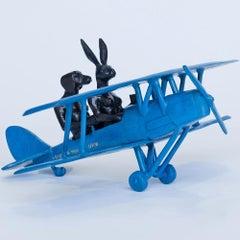 Sculpture - Art - Bronze - Gillie and Marc - Mini Blue Plane - Love Travel