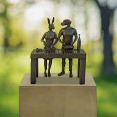 Sculpture - Art - Bronze - Gillie and Marc - Mini - Cooking - Rabbit - Dog