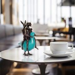 Sculpture - Art - Bronze - Gillie and Marc - Mini - Dog - Rabbit - Duck - Blue