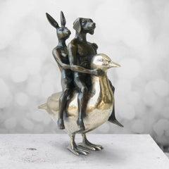 Sculpture - Art - Bronze - Gillie and Marc - Mini - Dog - Rabbit - Duck - Gold