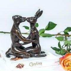 Sculpture - Art - Bronze - Gillie and Marc - Mini - Dog - Rabbit - Kiss - Love