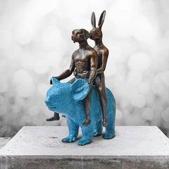 Sculpture - Art - Bronze - Gillie and Marc - Mini - Dog - Rabbit - Koala - Blue