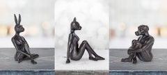 Sculpture - Art - Bronze - Gillie and Marc - Pocket - Rabbit - Cat - Dog - Set