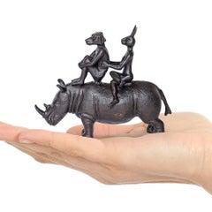 Sculpture - Art - Bronze - Gillie and Marc - Pocket - Rhino Riders - Dog Rabbit