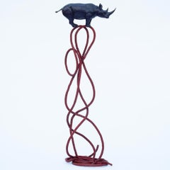 Sculpture Art - Bronze - Gillie and Marc - Purple Rhino - Red Rope - Wildlife