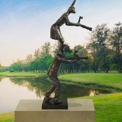 Sculpture - Art - Bronze - Gillie and Marc - Rabbit - Dog - Paparazzi - Love