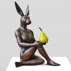Sculpture - Art - Bronze - Gillie and Marc - Rabbit - Woman - Nude - Green Pear